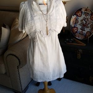 Rare Linen Dress, Tunic, Top Blouse Lace Embroider